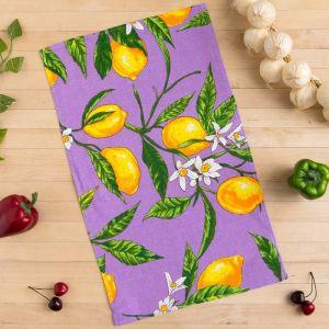 Полотенце вафельное Collorista Лимоны, цвет сиреневый 35х58,100% хл,160 г/м?