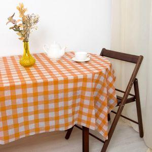 Скатерть для дачи Хозяюшка Клетка, цвет оранжевый 160?160 см