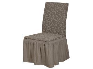 Набор чехлов для стульев 6 шт с оборкой , KAR 009-12 A.Bej