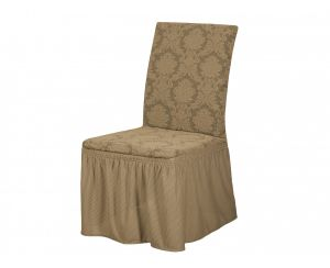 Набор чехлов для стульев 6 шт с оборкой , KAR 007-03 Bej
