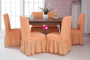 Набор чехлов для стульев 6 шт с оборкой,Коралловый