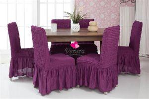 Набор чехлов для стульев 6 шт с оборкой ,Фиолетовый