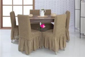 Набор чехлов для стульев 6 шт с оборкой ,Темно-Оливковый