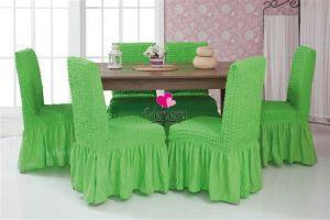 Набор чехлов для стульев 6 шт с оборкой ,Салатовый