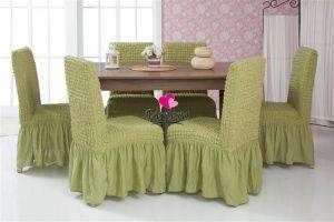 Набор чехлов для стульев 6 шт с оборкой ,Молодая зелень