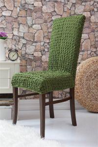 Набор чехлов для стульев 6 шт без оборки,Зеленый