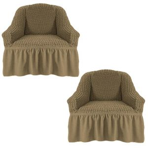 Набор чехлов для кресла с оборкой (2шт.),темно-оливковый