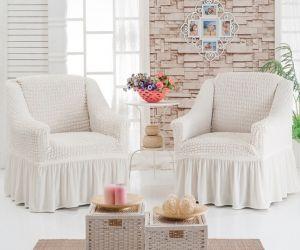 Набор чехлов для кресла с оборкой (2шт.),шампань