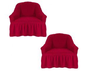 Набор чехлов для кресла с оборкой (2шт.), Бордовый