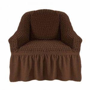 Чехол на кресло с оборкой (1шт.) К 029,шоколад