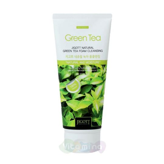 Jigott Пенка для умывания с экстрактом зеленого чая Natural Green Tea Foam Cleansing, 180 мл