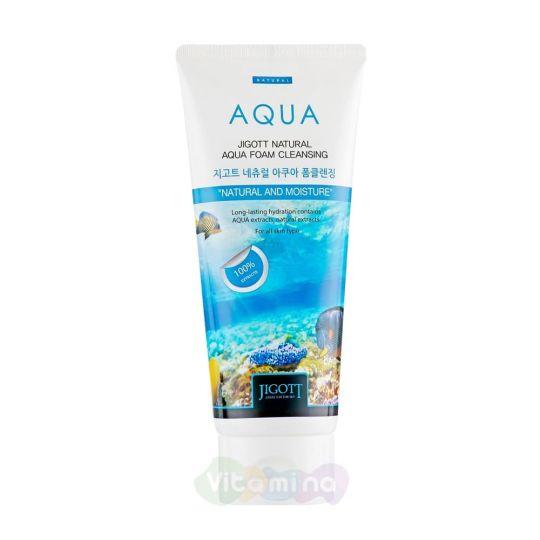 Jigott Пенка для умывания с аквамарином Natural Aqua Foam Cleansing, 180 мл