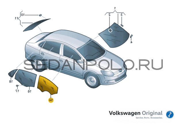 CТЕКЛО ДВЕРИ ПЕРЕДНЕЕ ПРАВОЕ ОРИГИНАЛ VAG VOLKSWAGEN POLO SEDAN 2010-2020
