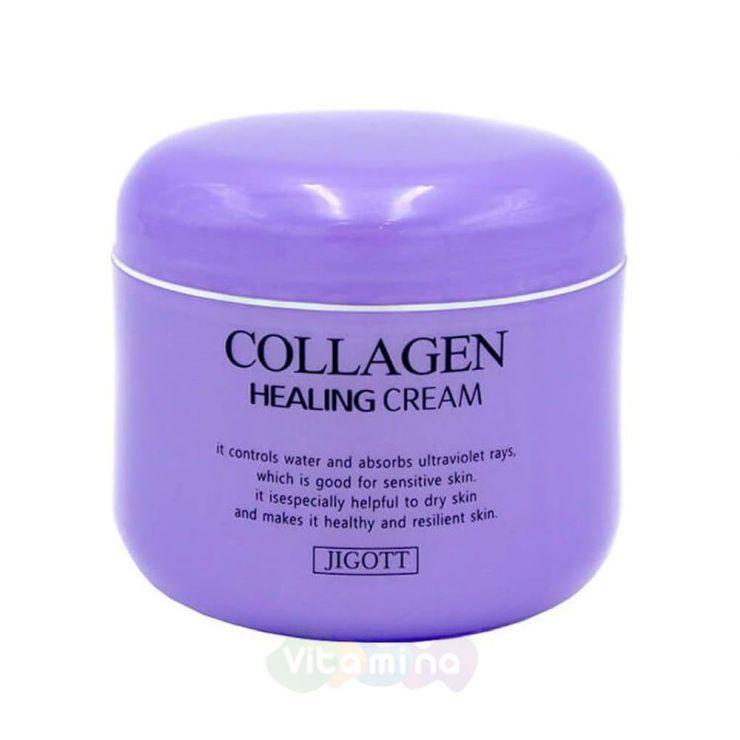 Jigott Питательный ночной крем с коллагеном Collagen Healing Cream, 100 мл