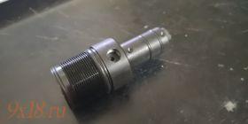 Корпус Боевой клапанной группы (задняя пробка резервуара) пневматической винтовки Крал Панчер Макси, родной с предохранительной пластиной