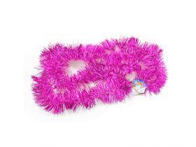 Мишура одноцветная, розовая, блестящая, 63 мм, длина 2 м