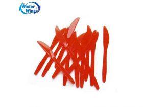 Набор ножей пластмассовых, прозрачных цветных, 20 шт. в пакете, 5 цв., 16 см
