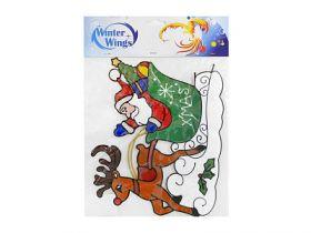 Наклейка-панно декоративная на стекло, САНТА С ОЛЕНЕМ, гелевая, 1 шт. в пакете, 31х27 см