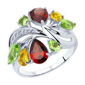 Кольцо из серебра с миксом камней 92011833 SOKOLOV