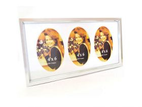 Рамка на 3 фото, 20х40 см, пластик, серебристый цв., WINTER WINGS