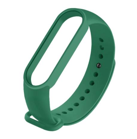 Сменный ремешок на фитнес - трекер Xiaomi Mi Band 5/6 ( Темно-зеленый )