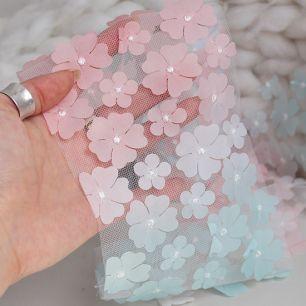 Фатин  с цветами - Мятно-розовый градиент 12 см