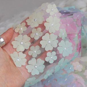 Фатин  с цветами - Градиент 12 см