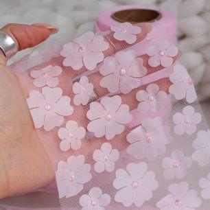Фатин с цветами - Розовый 12 см