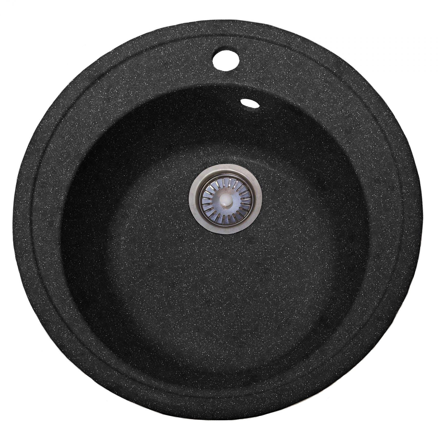 Мойка каменная S-1 круглая (асфальт) (д490гл чаши185 уст проем 470)