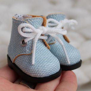 Обувь для кукол 5 см - ботиночки на молнии голубые