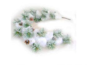Украшение декоративное СОСНОВАЯ ВЕТКА С ШИШКАМИ, заснеженная, 1 шт,122 см,в пакете,пластик
