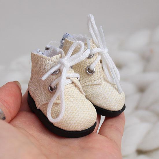 Обувь для кукол 5 см - ботиночки на молнии молочные