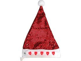 Шапка деда мороза, блестящая, 5 сердечек, мигающая, 38 x 30 см, красная