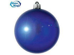 Шар блестящий, 8 см, синий, 1 шт. в прозрачной коробке