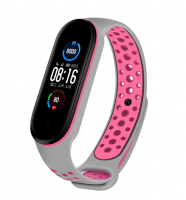 Спортивный ремешок на фитнес-браслет Xiaomi mi band 5 ( Серо-розовый )