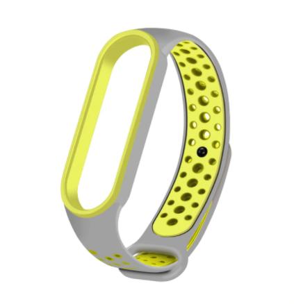 Спортивный ремешок на фитнес-браслет Xiaomi mi band 5/6 ( Серо-зеленый )
