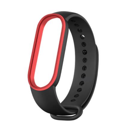 Сменный двухцветный ремешок на фитнес-браслет Xiaomi mi band 5/6 ( черно-красный )