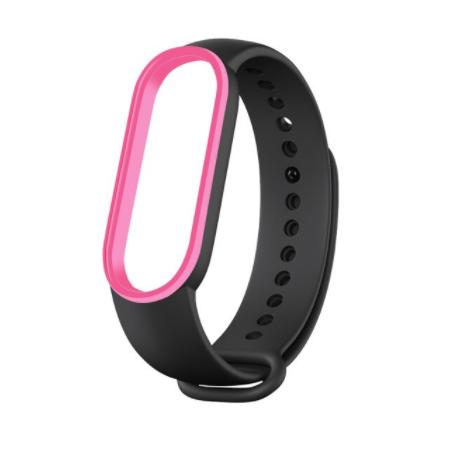 Сменный двухцветный ремешок на фитнес-браслет Xiaomi mi band 5/6 ( черно-розовый )