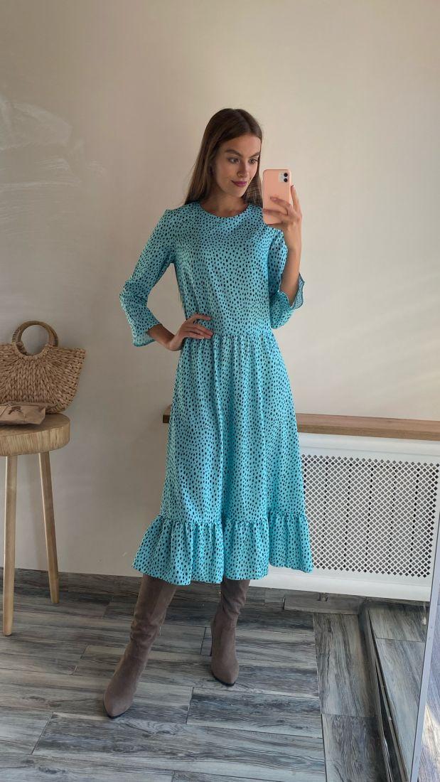 """s2291 Трехъярусное платье длины """"миди"""" с принтом polka dots бирюзовое"""