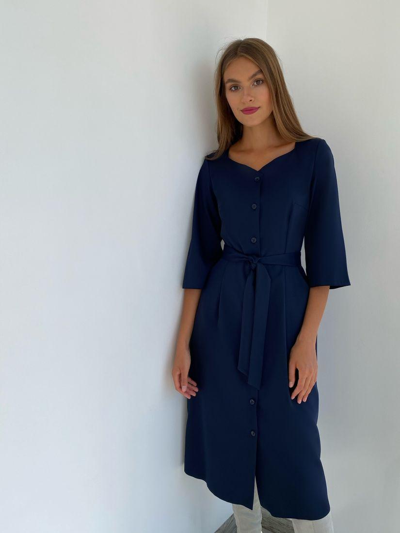 s2300 Платье с фигурным вырезом тёмно-синее