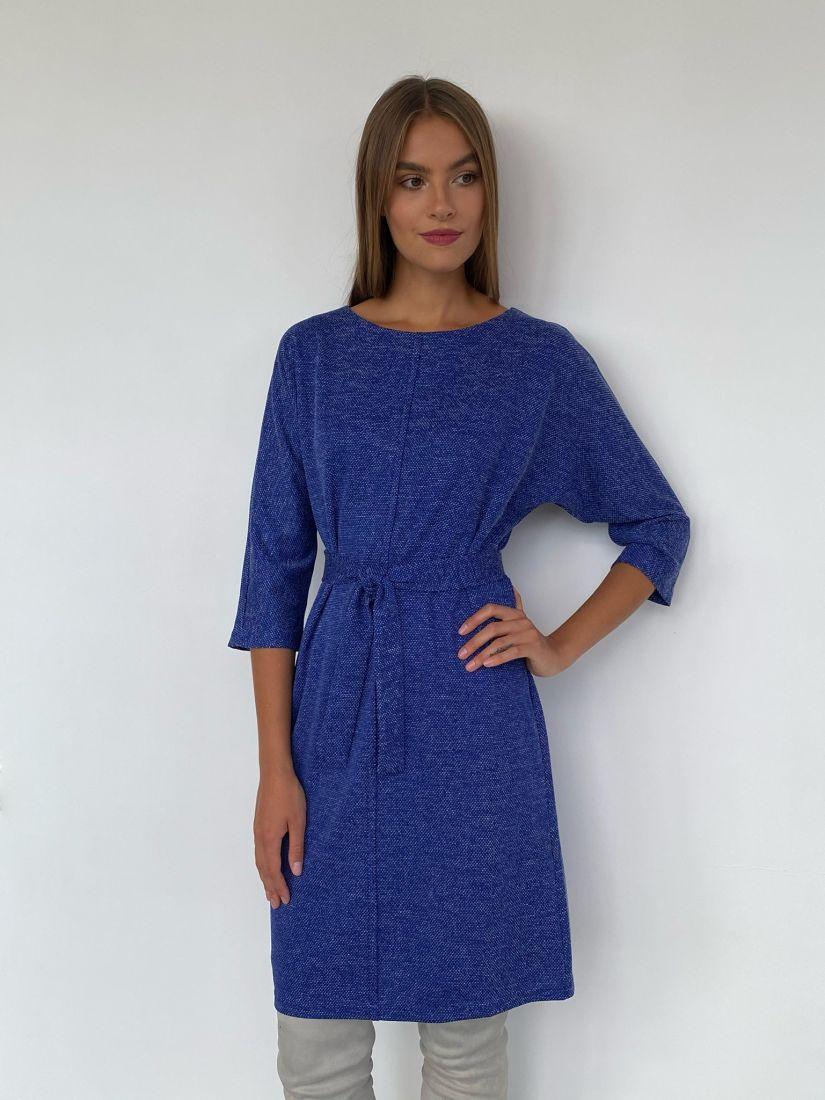 s2305 Платье из трикотажа с планкой синее