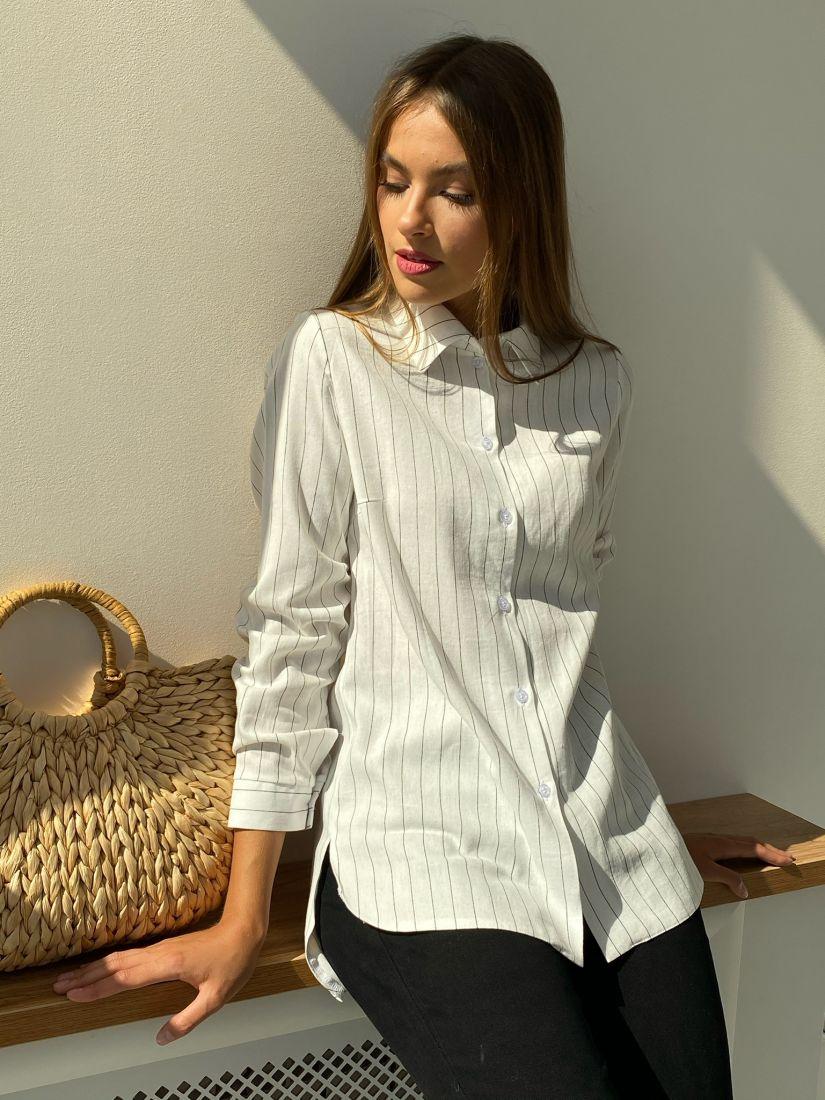 s2330 Рубашка удлинённая в полоску белая