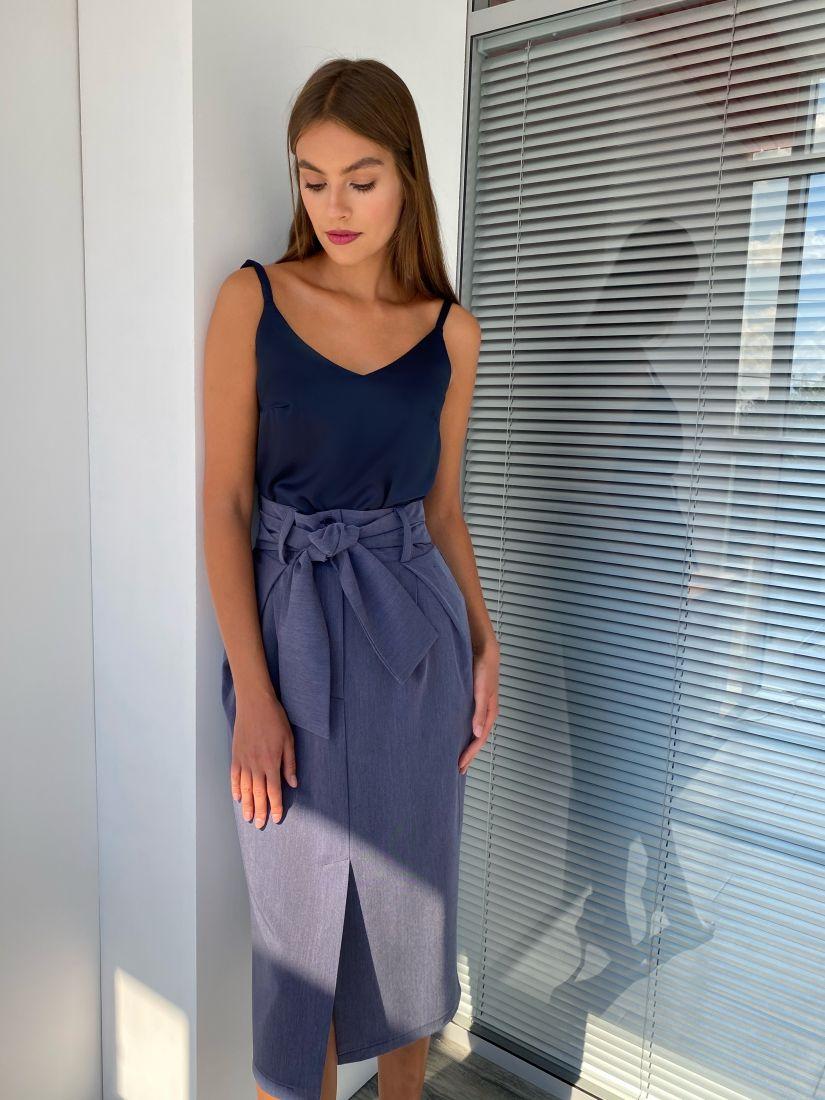 s2326 Юбка-тюльпан в цвете тёмно-синий меланж