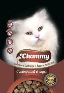 Корм д/кошек CHAMMY 85гр Пауч говядина в соусе