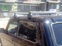 Багажник на крышу ВАЗ-2121, ВАЗ-2131 (Нива / Нива Urban), с водостоками, Lux, крыловидные дуги (82 мм)