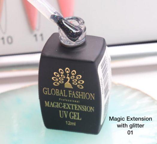 ГЕЛЬ Глобал Фешн ФЛАКОН 12 мл. MAGIC LIQUID EXTENSION 01 прозрачный с шиммером