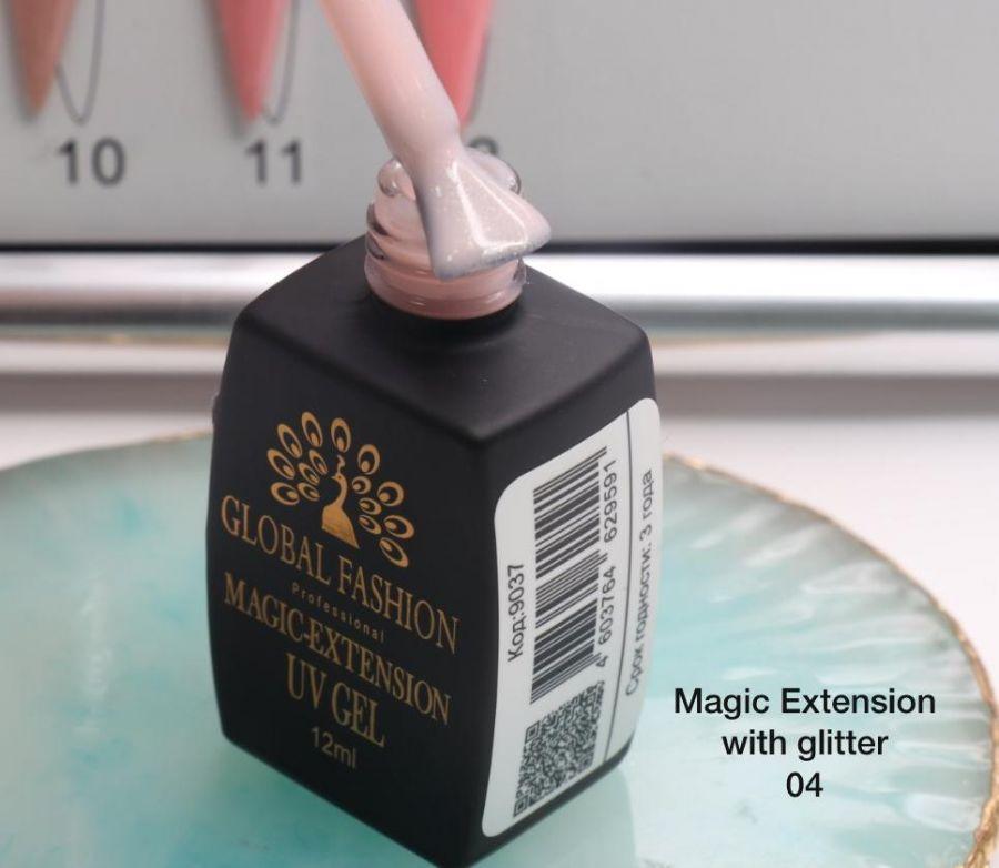 ГЕЛЬ Глобал Фешн ФЛАКОН 12 мл. MAGIC LIQUID EXTENSION 04 с шиммером