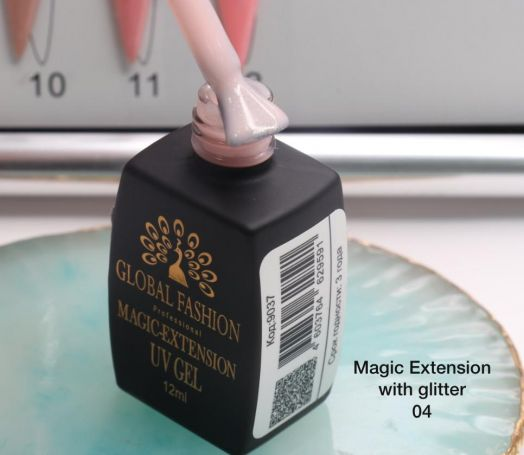 ГЕЛЬ Глобал Фешн ФЛАКОН 12 мл. MAGIC LIQUID EXTENSION 04 с шиммером