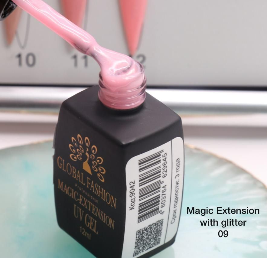 ГЕЛЬ Глобал Фешн ФЛАКОН 12 мл. MAGIC LIQUID EXTENSION 09 с шиммером