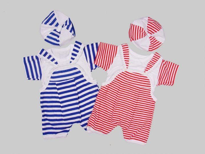 Костюм: песочник, футболка, берет kC-KS4604-SUk(pl) /супрем полоска